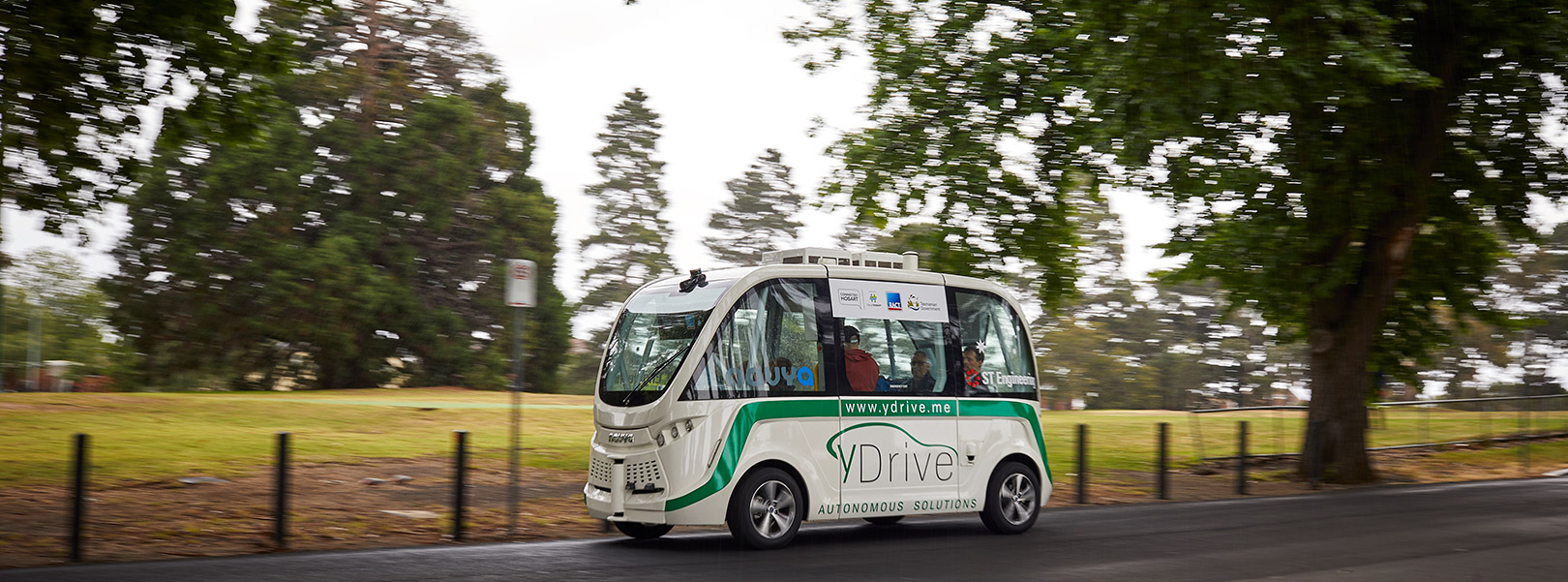 Driverless bus touring the streets of Sandy Bay