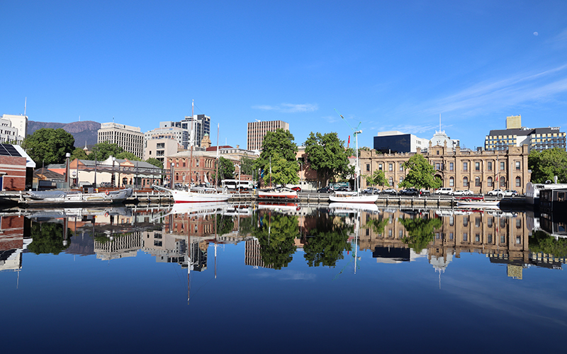 Reflections on the water at the Hobart docks