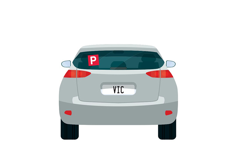 Vector image of little grey car with VIC number plates and a P plate up on the back window.