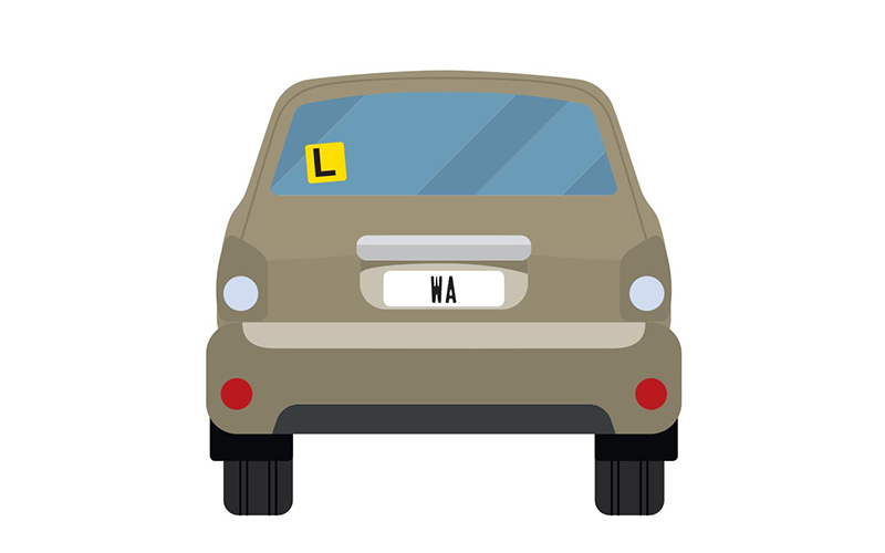 Vector image of little grey car with WA number plates and an L plate up on the back window.
