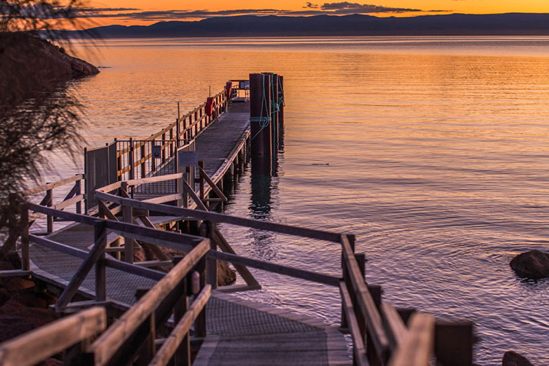 Sunset over Freycinet Lodge Jetty.